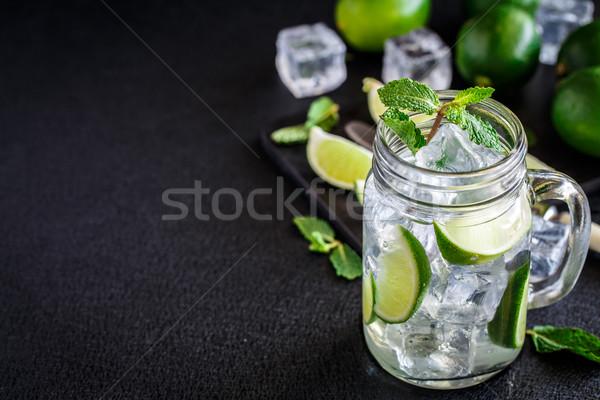 Beber cal de gelo bebida fria vidro Foto stock © vankad