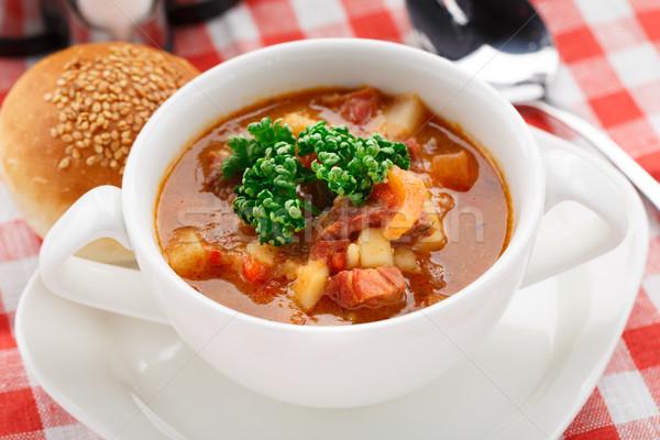 Tigela sopa delicioso tabela comida jantar Foto stock © vankad