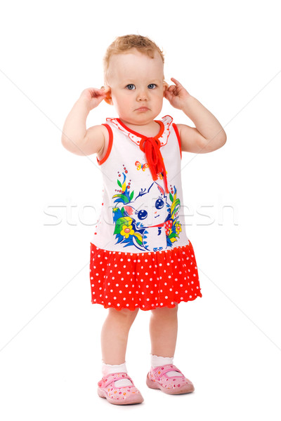 Portrait of baby girl holding her ears Stock photo © vankad