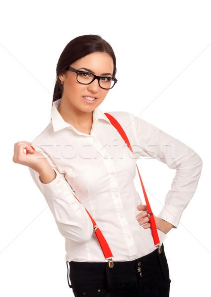 Portré fiatal nő visel piros nadrágtartó nő Stock fotó © vankad