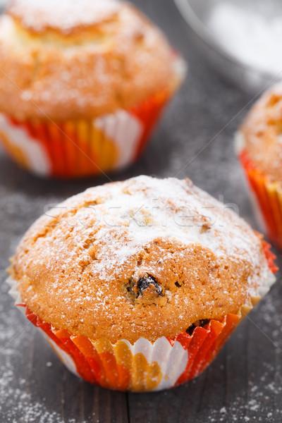 çörek kuru üzüm tatlı tablo kek renk Stok fotoğraf © vankad