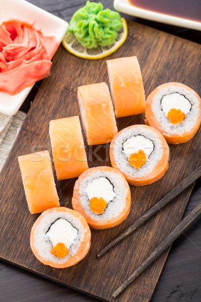 Stockfoto: Sushi · Philadelphia · kaviaar · zalm · avocado