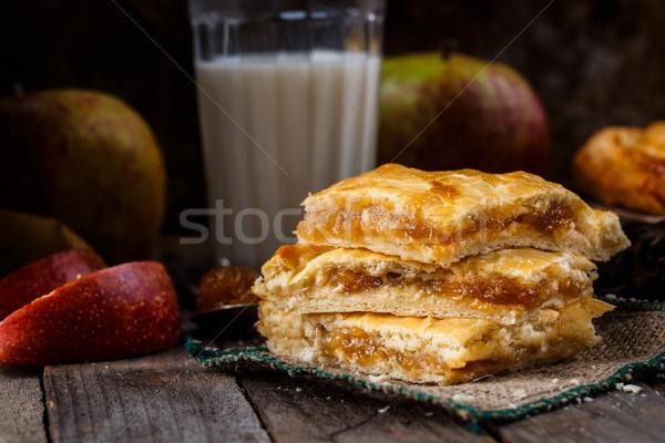 Casero pastel de manzana delicioso pie relleno manzana Foto stock © vankad