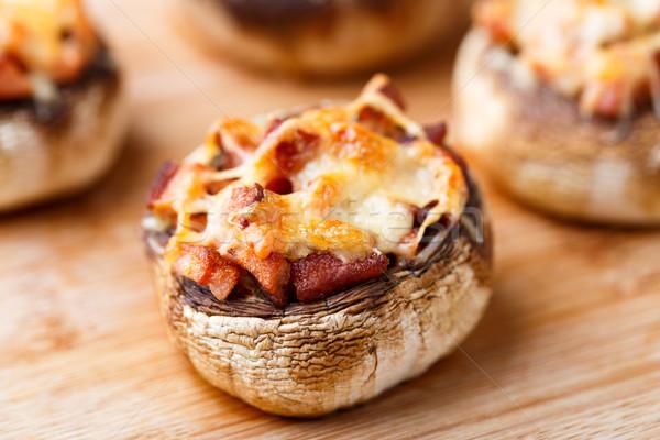 Doldurulmuş jambon peynir lezzetli tahta öğle yemeği Stok fotoğraf © vankad