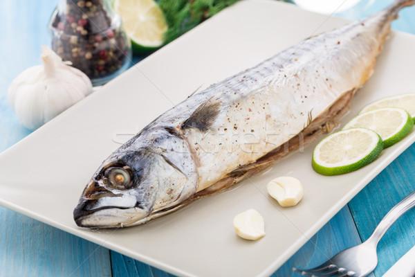 Sült makréla tányér citrus fokhagyma hal Stock fotó © vankad