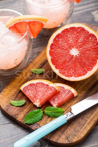 グレープフルーツ スライス 表 木製のテーブル 食品 自然 ストックフォト © vankad