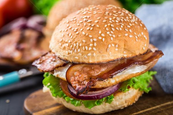 Burger бекон обеда мяса Сток-фото © vankad