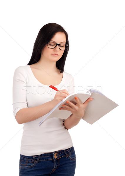 Portrait Homme étudiant livres écrit classeur Photo stock © vankad