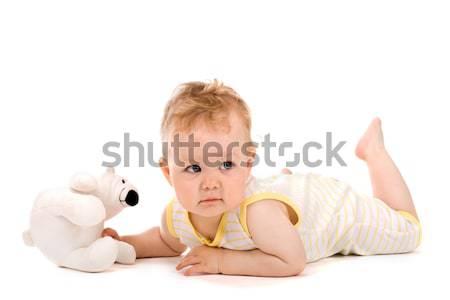 Cute baby lying on tummy Stock photo © vankad