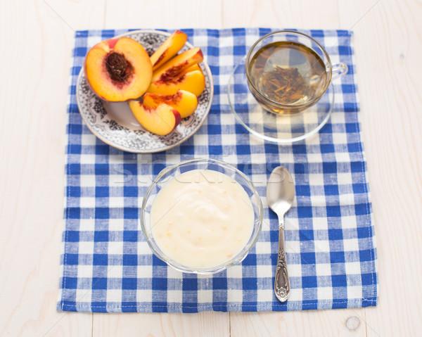 Kahvaltı yeşil çay şeftali ışık gıda yeşil Stok fotoğraf © vankad