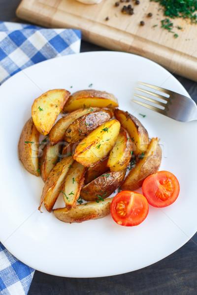 フライド ジャガイモ チェリートマト プレート 食品 青 ストックフォト © vankad