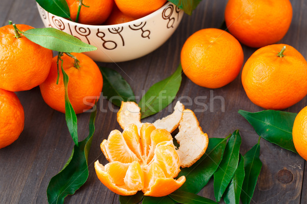 Tangerines on wooden background Stock photo © vankad