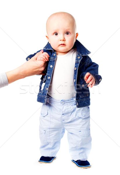 Stok fotoğraf: Ilk · adımlar · bebek · öğrenme · yürümek · yardım
