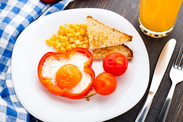 Fried egg in sweet paprika Stock photo © vankad