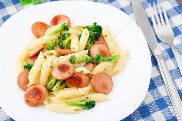 Stockfoto: Pasta · kip · worst · broccoli · plaat · witte