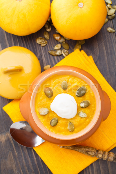 Abóbora sopa delicioso nata pote laranja Foto stock © vankad