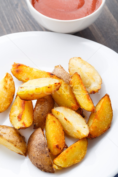 Aardappel plaat tomatensaus voedsel witte Geel Stockfoto © vankad