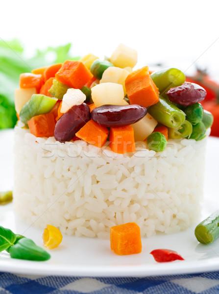 Heerlijk rijst groenten plaat diner Rood Stockfoto © vankad