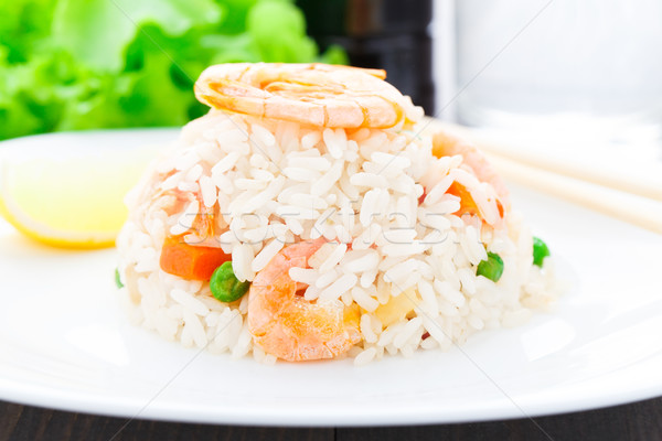 Fried rice with shrimps Stock photo © vankad