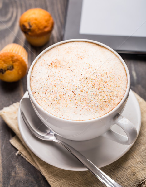 Cappuccino coffee with muffins Stock photo © vankad
