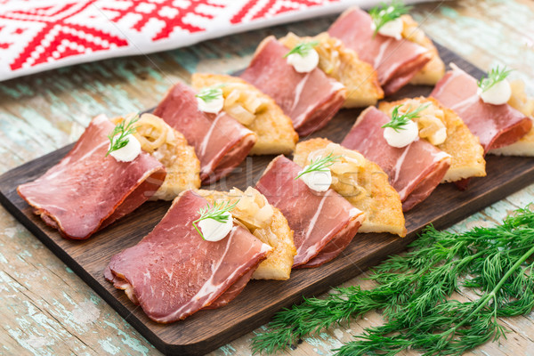 картофеля бекон Ломтики пластина Сток-фото © vankad