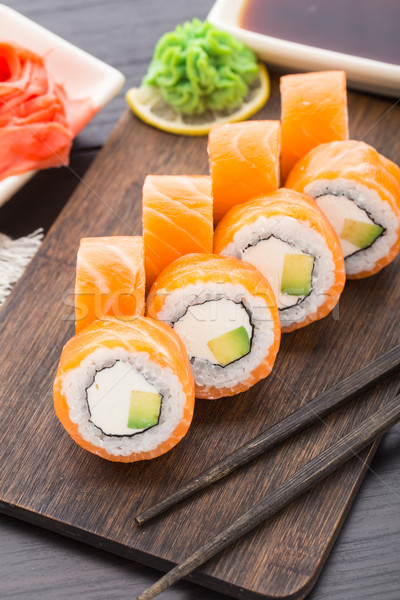 寿司 フィラデルフィア 鮭 アボカド 食品 ストックフォト © vankad