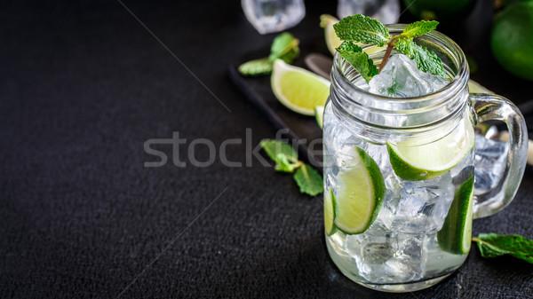Сток-фото: пить · извести · мята · льда · холодные · напитки · стекла