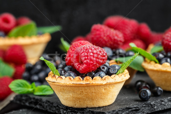 Tartlets with berries Stock photo © vankad