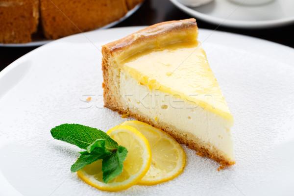 Limone cheesecake piatto bianco caffè Foto d'archivio © vankad