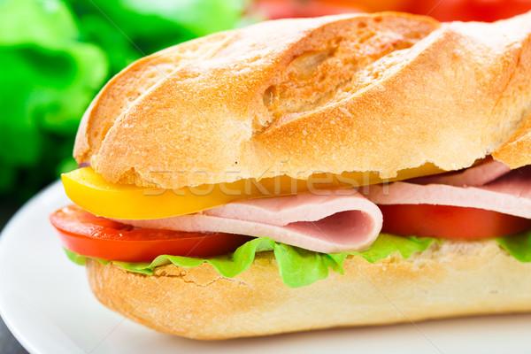 Sandviç jambon marul domates biber Stok fotoğraf © vankad