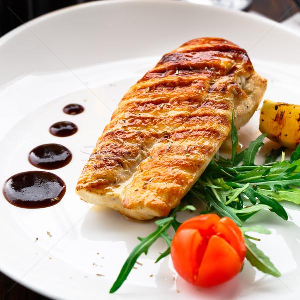 Gegrilde kip borst voedsel plaat witte Stockfoto © vankad