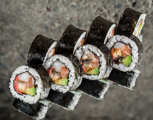 Sushis rouler saumon avocat texture Rock Photo stock © vankad