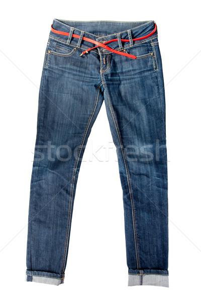 Foto d'archivio: Coppia · jeans · blu · femminile · isolato · bianco