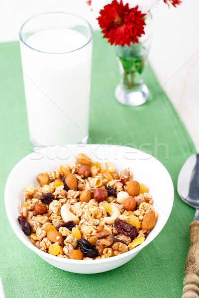 Egészséges müzli reggeli mazsola száraz gyümölcsök Stock fotó © vankad
