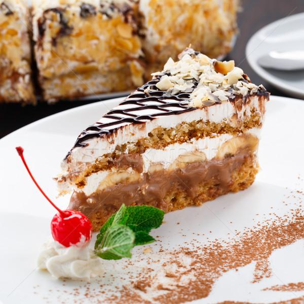Banán torta tányér finom fehér tea Stock fotó © vankad
