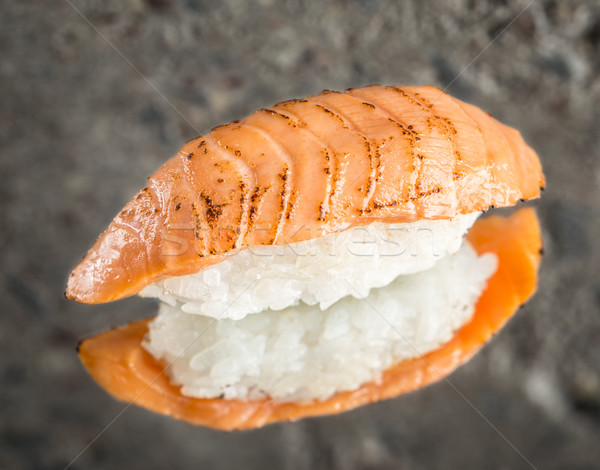 Burned nigiri sushi with salmon Stock photo © vankad