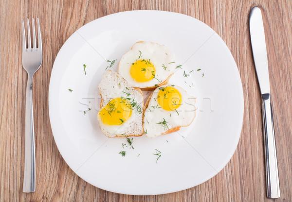 Frito huevos baguette placa huevo mesa Foto stock © vankad