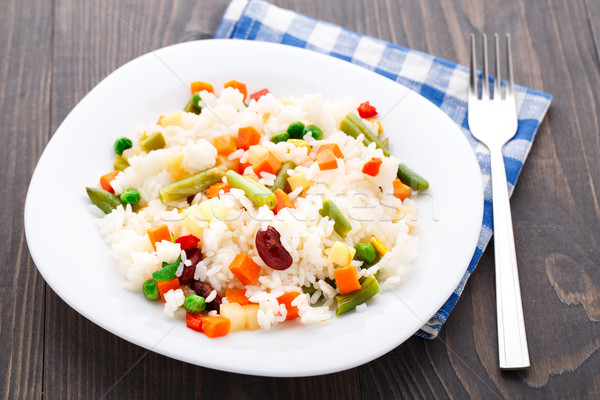 Delicious rice with vegetables Stock photo © vankad