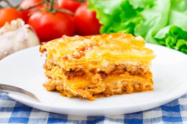 Stok fotoğraf: İtalyan · lazanya · plaka · lezzetli · beyaz · gıda