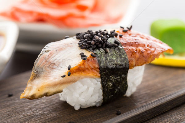 Nigiri sushi with smoked eel Stock photo © vankad