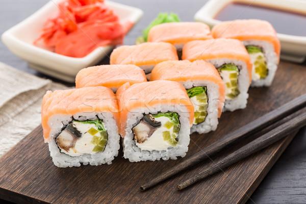 Sushi rotolare salmone anguilla affumicato alimentare Foto d'archivio © vankad