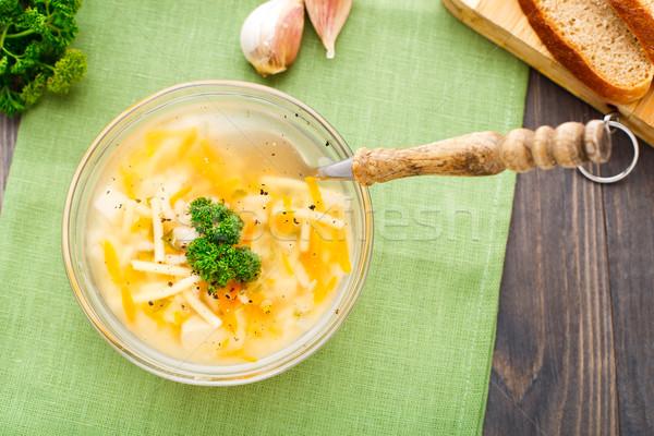 ボウル チキンスープ 野菜 麺 青 ナプキン ストックフォト © vankad