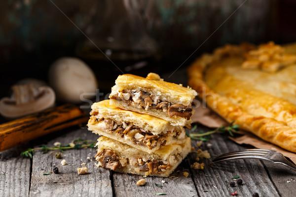 Stock photo: Homemade pie stuffed with mushrooms