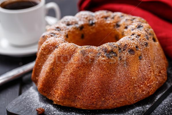 Kek kuru üzüm siyah ekmek bıçak Stok fotoğraf © vankad