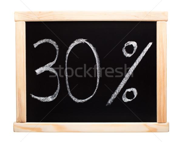 Harminc százalék írott iskolatábla 30 fehér Stock fotó © vankad