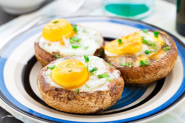 Relleno setas huevos hierbas alimentos Foto stock © vankad