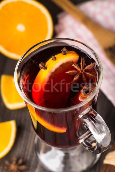 Stok fotoğraf: şarap · kadehi · şarap · turuncu · baharatlar · meyve · cam