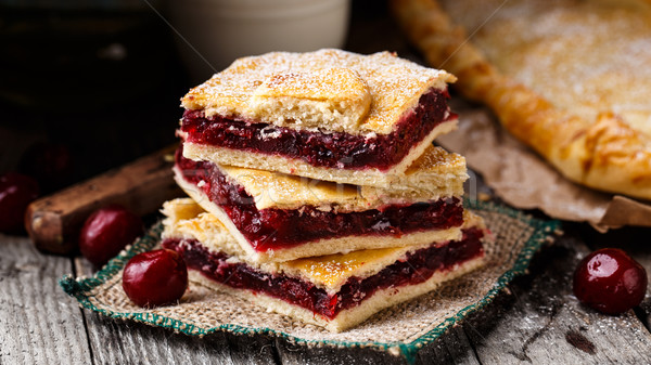 Homemade pie stuffed with cherries Stock photo © vankad