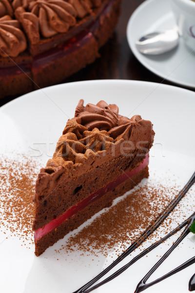 Csokoládés sütemény tányér finom fehér kávé csokoládé Stock fotó © vankad