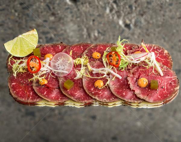 牛肉 新しい スタイル 刺身 具体的な テクスチャ ストックフォト © vankad